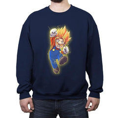 Super Mario Saiyan - Crew Neck Sweatshirt - Crew Neck Sweatshirt - RIPT Apparel