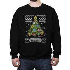 A Classic Gamers Christmas - Ugly Holiday - Crew Neck Sweatshirt - Crew Neck Sweatshirt - RIPT Apparel