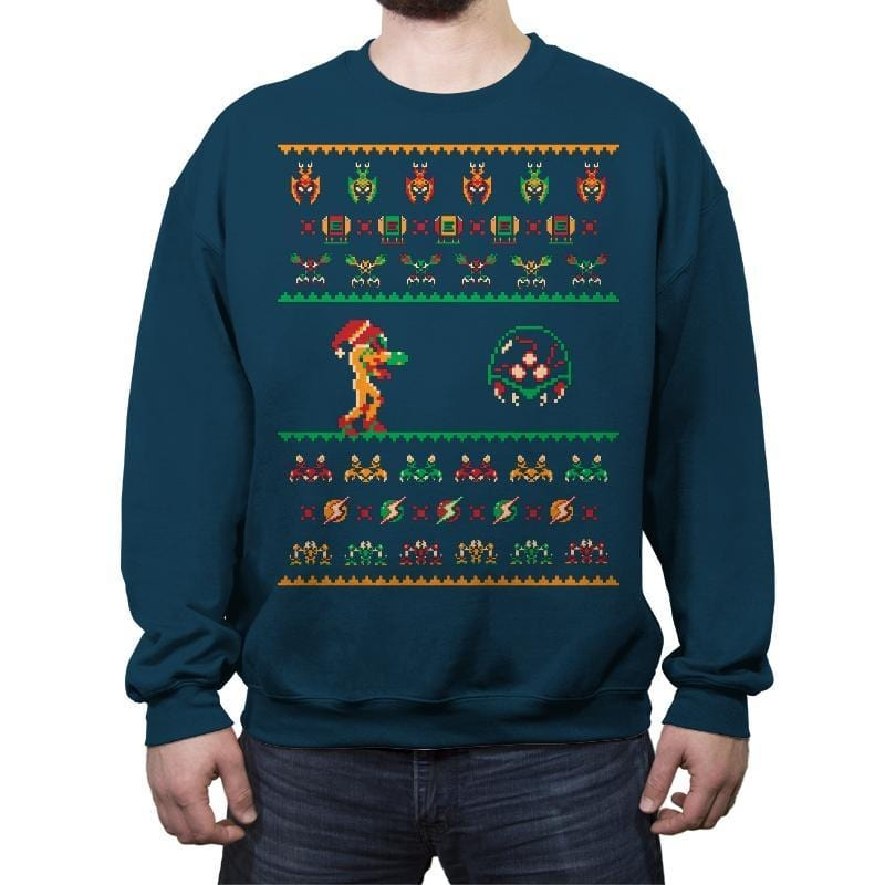 We Wish You A Metroid Christmas - Ugly Holiday - Crew Neck Sweatshirt - Crew Neck Sweatshirt - RIPT Apparel