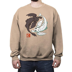 Yin Yang Dragons - Crew Neck Sweatshirt - Crew Neck Sweatshirt - RIPT Apparel