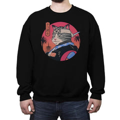 Samurai Cat - Crew Neck Sweatshirt - Crew Neck Sweatshirt - RIPT Apparel