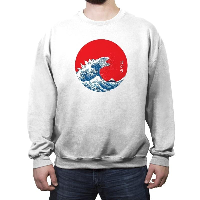 Hokusai Kaiju Reprint - Crew Neck Sweatshirt - Crew Neck Sweatshirt - RIPT Apparel