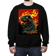 Godzilla on Fire - Crew Neck Sweatshirt - Crew Neck Sweatshirt - RIPT Apparel