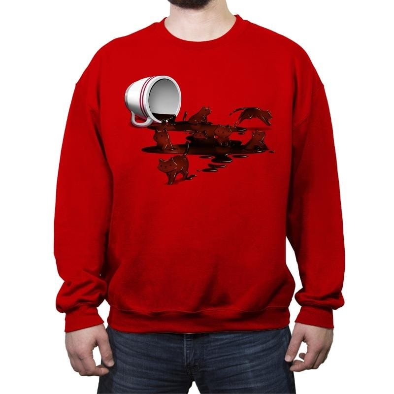Coffee Cat - Crew Neck Sweatshirt - Crew Neck Sweatshirt - RIPT Apparel