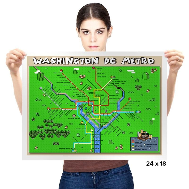Washington DC Metro Pixel Map - Prints - Posters - RIPT Apparel