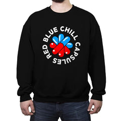 Red Blue Chill Capsules - Crew Neck Sweatshirt - Crew Neck Sweatshirt - RIPT Apparel