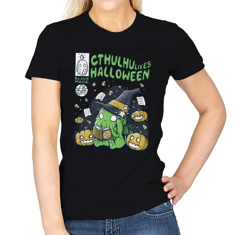 Cthulhu Likes Halloween - Anytime - Womens - T-Shirts - RIPT Apparel
