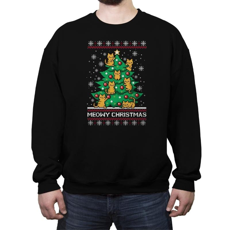 Meowy christmas - Ugly holiday - Crew Neck Sweatshirt - Crew Neck Sweatshirt - RIPT Apparel