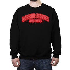 Horror Movies and Chill - Crew Neck Sweatshirt - Crew Neck Sweatshirt - RIPT Apparel
