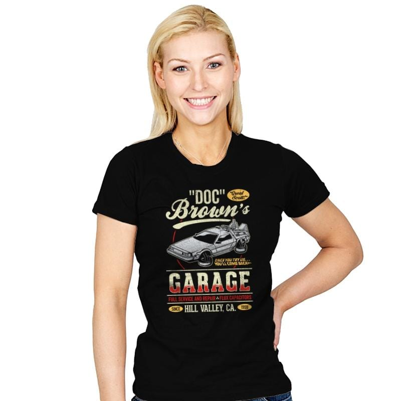 Doc Brown's Garage - Womens - T-Shirts - RIPT Apparel