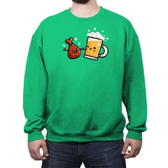 Wings and Beer - Crew Neck Sweatshirt - Crew Neck Sweatshirt - RIPT Apparel