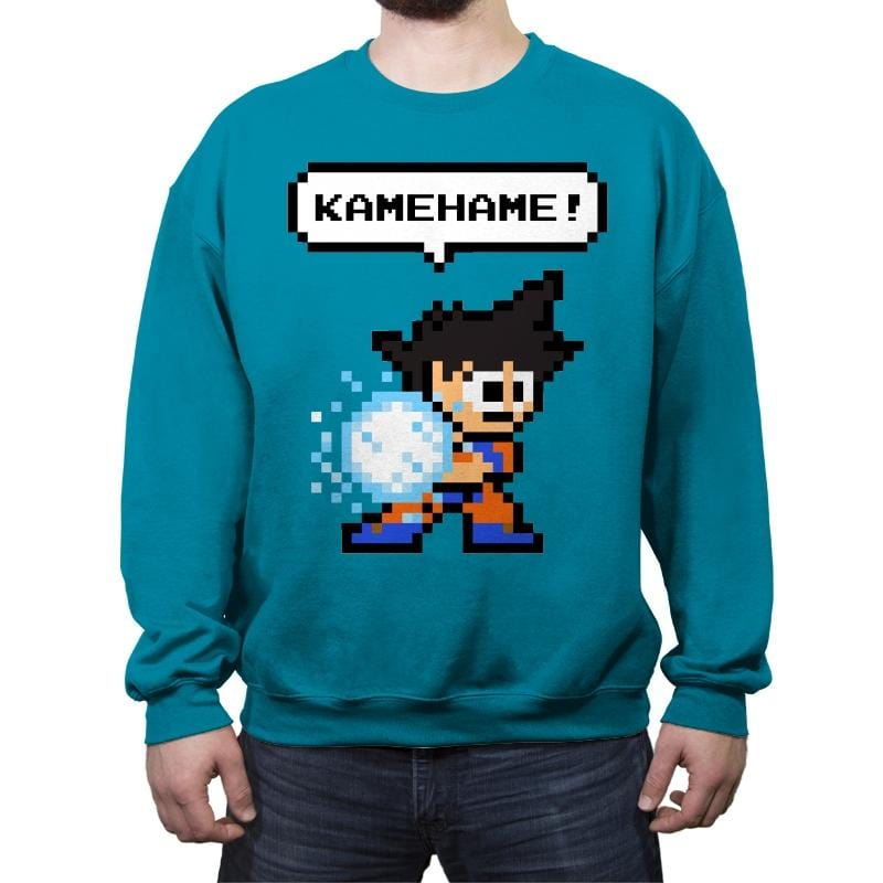 8bit Kamehame - Crew Neck Sweatshirt - Crew Neck Sweatshirt - RIPT Apparel