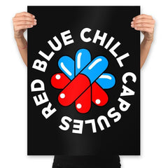 Red Blue Chill Capsules - Prints - Posters - RIPT Apparel