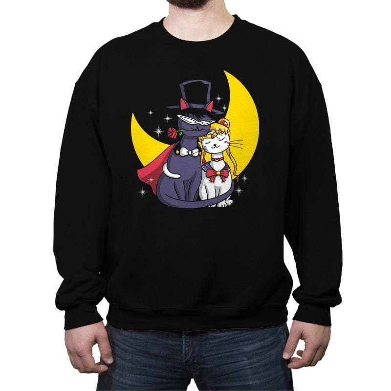 Moonlight Cats - Crew Neck Sweatshirt - Crew Neck Sweatshirt - RIPT Apparel