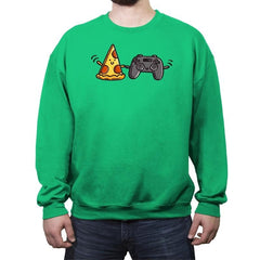 Pizza and Games - Crew Neck Sweatshirt - Crew Neck Sweatshirt - RIPT Apparel