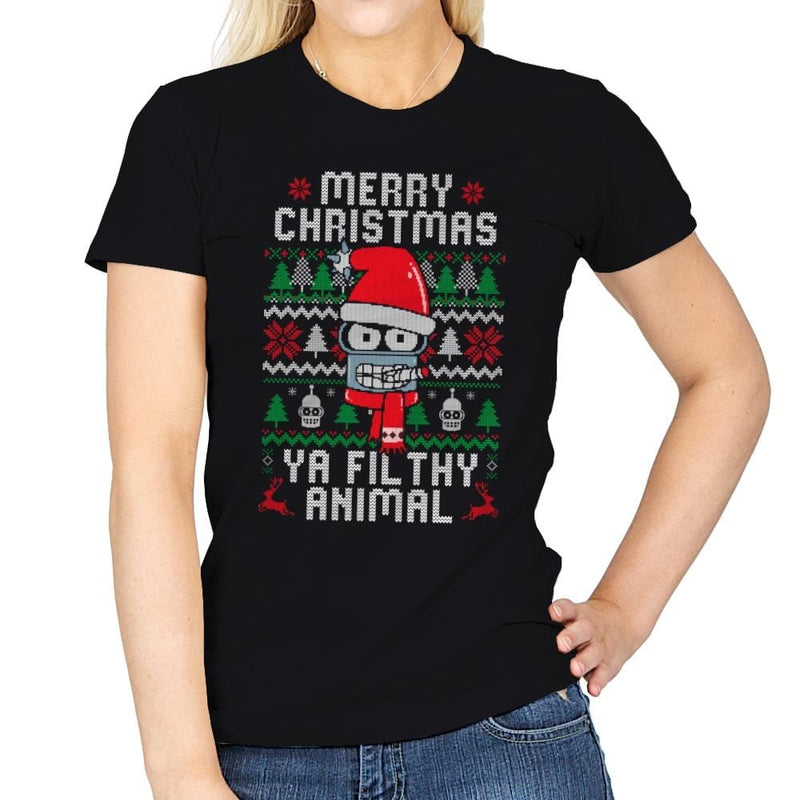 Merry Christmas Ya Filthy Animal - Womens - T-Shirts - RIPT Apparel