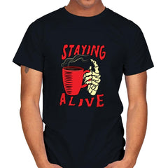 Staying Alive With Coffee - Mens - T-Shirts - RIPT Apparel