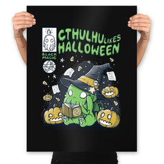 Cthulhu Likes Halloween - Anytime - Prints - Posters - RIPT Apparel