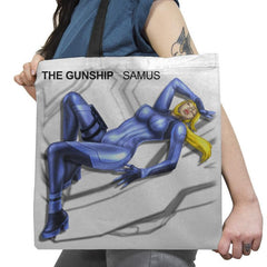 The Gunship: Samus - Record Collector - Tote Bag - Tote Bag - RIPT Apparel