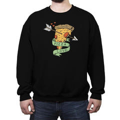 Pizza Love - Crew Neck Sweatshirt - Crew Neck Sweatshirt - RIPT Apparel
