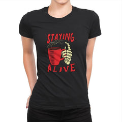 Staying Alive With Coffee - Womens Premium - T-Shirts - RIPT Apparel