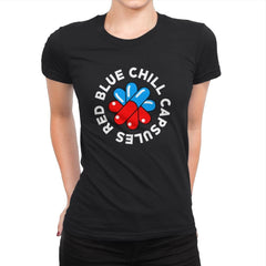 Red Blue Chill Capsules - Womens Premium - T-Shirts - RIPT Apparel
