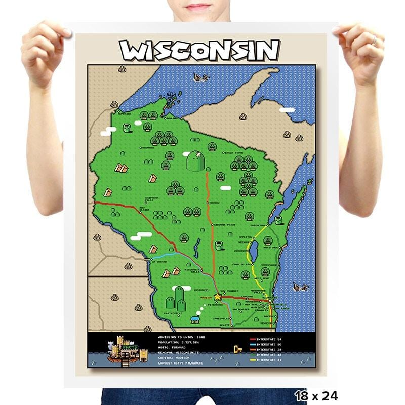 Wisconsin State Pixel Map - Prints - Posters - RIPT Apparel