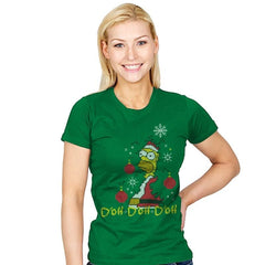 D'oh D'oh D'oh Santa Edition - Womens - T-Shirts - RIPT Apparel
