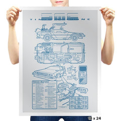 Time Machine Technical Blueprint - Prints - Posters - RIPT Apparel