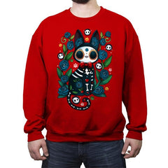 Calavera Witched Cat - Crew Neck Sweatshirt - Crew Neck Sweatshirt - RIPT Apparel