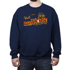 Visit the Bathhouse - Crew Neck Sweatshirt - Crew Neck Sweatshirt - RIPT Apparel