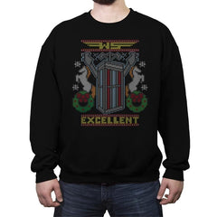 Excellent Sweater - Ugly Holiday - Crew Neck Sweatshirt - Crew Neck Sweatshirt - RIPT Apparel