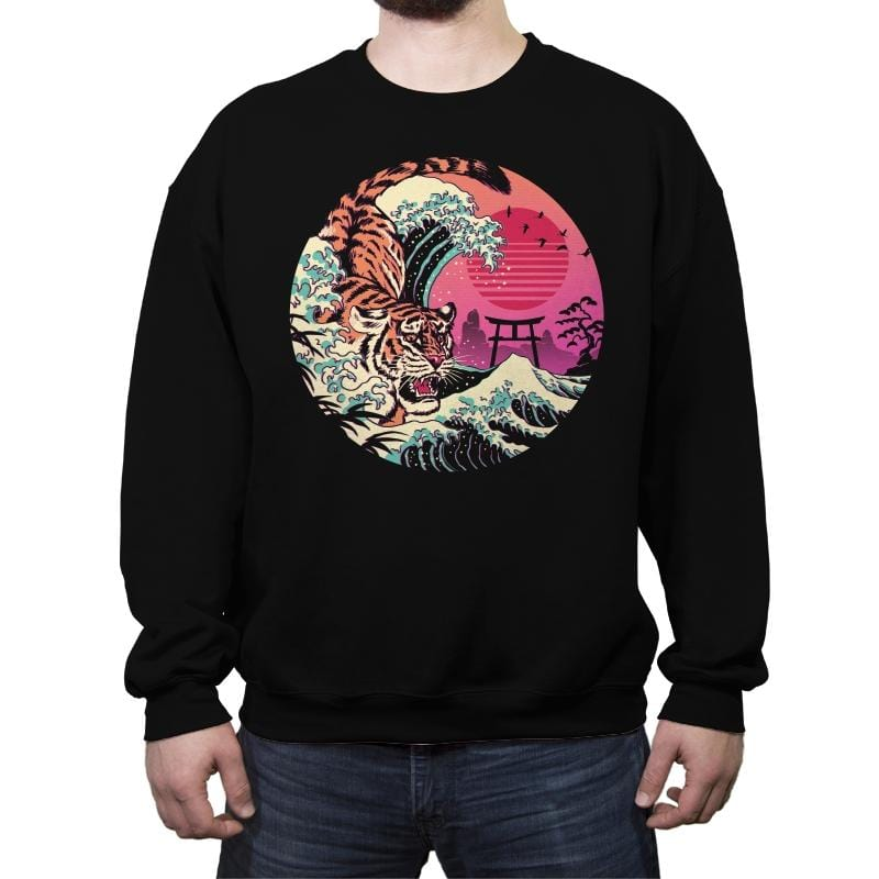 Rad Tiger Wave - Crew Neck Sweatshirt - Crew Neck Sweatshirt - RIPT Apparel