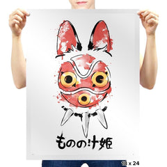 Wolf Girl Mask - Sumi Ink Wars - Prints - Posters - RIPT Apparel