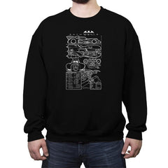 1980s Mobile Technical Blueprint - Crew Neck Sweatshirt - Crew Neck Sweatshirt - RIPT Apparel