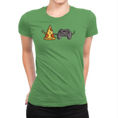 Pizza and Games - Womens Premium - T-Shirts - RIPT Apparel