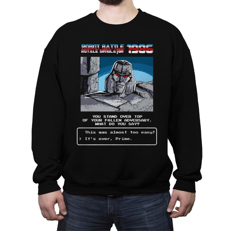 Robot Battle Royale Simulator 1986 - Crew Neck Sweatshirt - Crew Neck Sweatshirt - RIPT Apparel