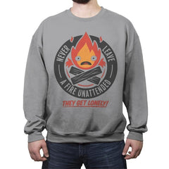 Lonely Fire Demon - Crew Neck Sweatshirt - Crew Neck Sweatshirt - RIPT Apparel