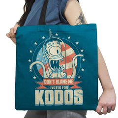 I Voted for Kodos Exclusive - Tote Bag - Tote Bag - RIPT Apparel