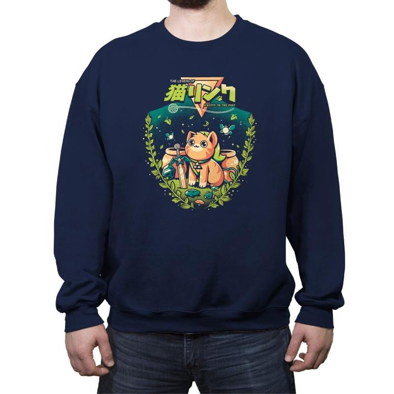 A Kitty to the Past - Crew Neck Sweatshirt - Crew Neck Sweatshirt - RIPT Apparel