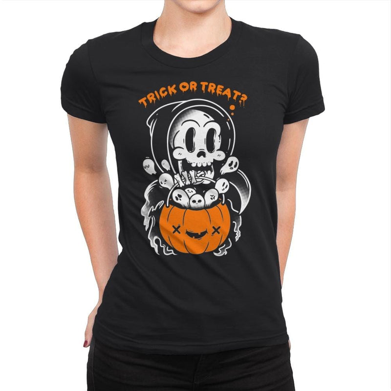 Death's Trick or Treat - Anytime - Womens Premium - T-Shirts - RIPT Apparel
