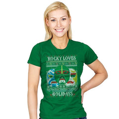 Rocky Loves Holidays - Ugly Holiday - Womens - T-Shirts - RIPT Apparel