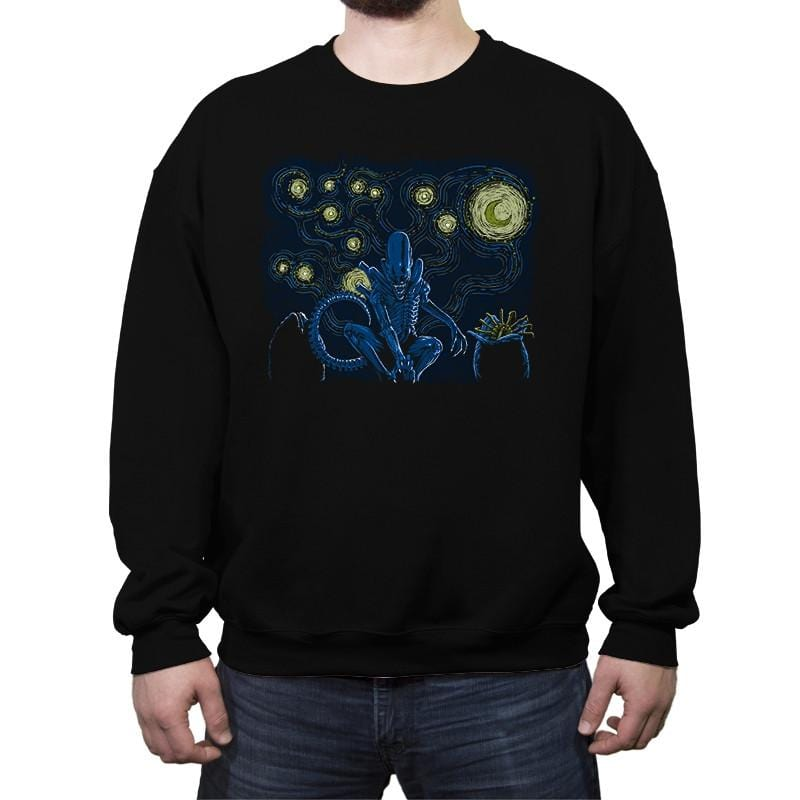 Starry Xenomorph - Crew Neck Sweatshirt - Crew Neck Sweatshirt - RIPT Apparel