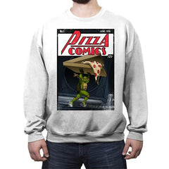 Pizza Comics - Featuring Michelangelo - Crew Neck Sweatshirt - Crew Neck Sweatshirt - RIPT Apparel