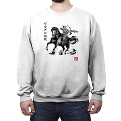 Wild Hunter sumi-e - Crew Neck Sweatshirt - Crew Neck Sweatshirt - RIPT Apparel