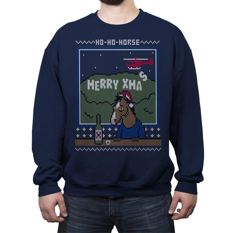 Ho-Ho-Horse! - Ugly Holiday - Crew Neck Sweatshirt - Crew Neck Sweatshirt - RIPT Apparel