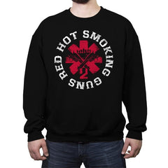 Red hot smoking guns - Crew Neck Sweatshirt - Crew Neck Sweatshirt - RIPT Apparel