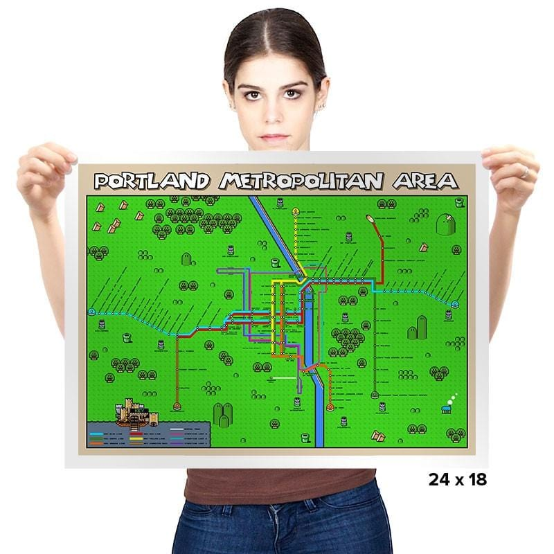 Portland City Center Pixel Map - Prints - Posters - RIPT Apparel