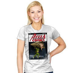 Pizza Comics - Featuring Michelangelo - Womens - T-Shirts - RIPT Apparel