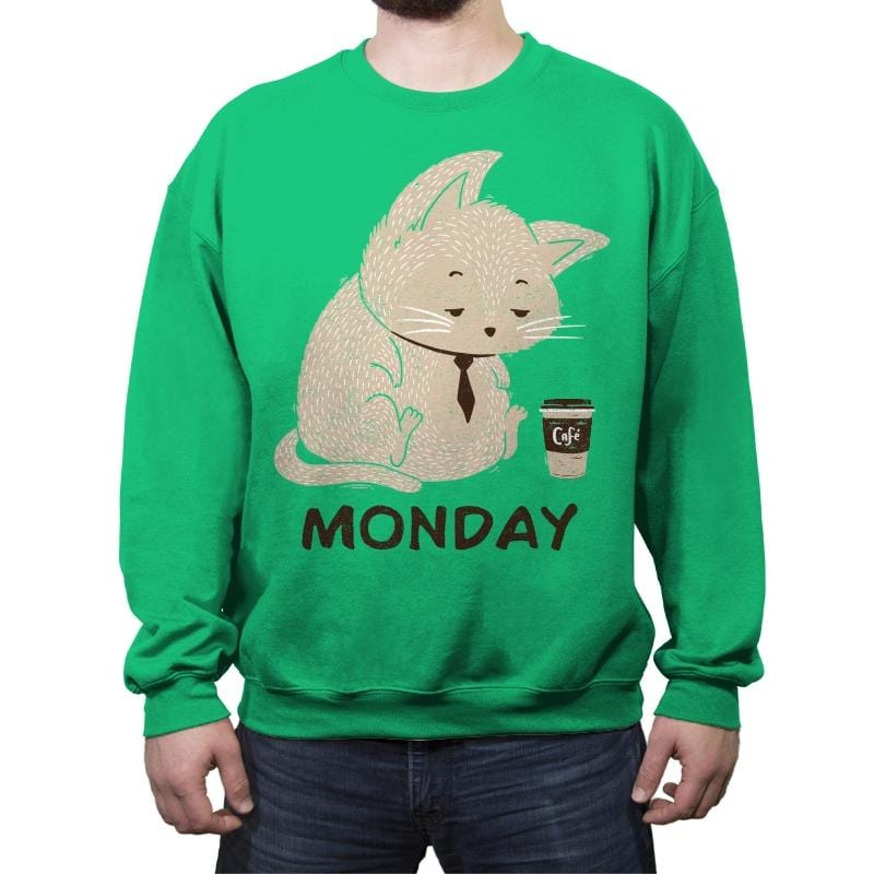 Monday Cat - Crew Neck Sweatshirt - Crew Neck Sweatshirt - RIPT Apparel